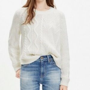 Madewell cable knit sweater open hem cream color for women